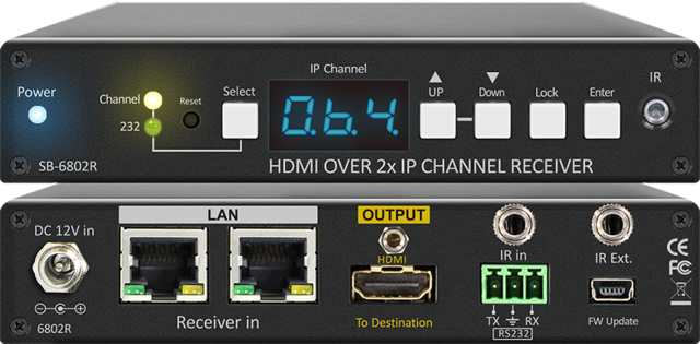 SHINYBOW(シャイニーボー)中継機能付きIP対応HDMI受信器 【型番】SB-6802R ※お取り寄せ