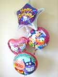 誕生日祝/送料無料「バースデー ミッキー&キティ&アンパンマン」素敵なバルーン電報になります。