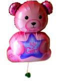 出産お祝、「送料無料ピンクのくまさんバルーン」バルーンギフトにメッセージカードを添えれば素敵なバルーン電報になります。