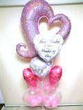 結婚祝・祝電・結婚式場バルーンギフト「パールピンク&ピンクハートのブライダル・バルーン」バルーン電報になります。