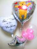 結婚祝/送料無料「きらきらプーさん ブライダルバルーン」素敵なバルーン電報になります。