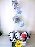お誕生日祝「トリプルパンダ バースデーバルーン&バルーンアート」素敵なバルーン電報になります。