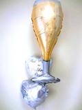 結婚祝・結婚式場祝電・バルーンギフト「送料無料シャンパングラス ブライダル・バルーン」バルーン電報になります。