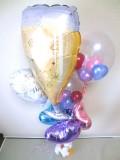 結婚祝・結婚式場祝電・バルーンギフト「送料無料セレブ ブライダル乾杯バルーン」バルーン電報になります。