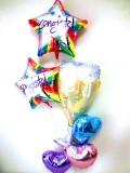 開店祝・入学祝・卒業祝・お誕生日「お祝シャンパングラス&ハートバルーン」バルーン電報になります。