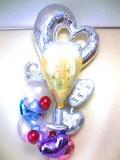 結婚祝・結婚式場祝電・バルーンギフト「送料無料DXハート&シャンパングラス ブライダル・バルーン」バルーン電報になります。