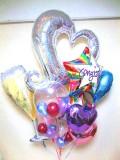 開店祝・入学祝・卒業祝・誕生日祝「DXお祝シャンパングラス&ハートバルーン」バルーン電報になります。