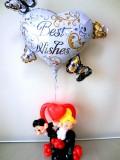 結婚祝「ウエディングハート&新郎新婦バルーンアート・ミニ」素敵なバルーン電報になります。