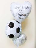 祝電・結婚式場・バルーンギフト・サッカー部・フットサル「送料無料サッカー結婚祝バルーン・ミニ」バルーン電報になります。