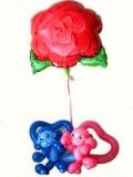 結婚式、愛の告白、お誕生日「ラブラブモンキー フラワー」バルーンギフトにメッセージカードを添えれば素敵なバルーン電報になります。