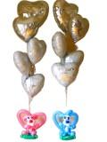 結婚祝「ラビット&シルバーダブルブーケ」バルーンギフトにメッセージカードを添えれば素敵なバルーン電報になります。