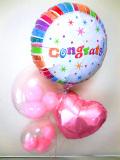 入学祝「送料無料 ピンクのお祝ハートバルーン」入園祝、卒業祝、開店祝、開院祝、バルーン電報になります。