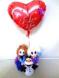 誕生日祝・入学祝・入園祝・七五三「送料無料オラフ&エルサ&アナと雪の女王 バルーン&バルーンアート」バルーン電報になります。