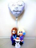結婚祝・結婚式場祝電・バルーンギフト「送料無料・結婚お祝 雪の女王 バルーン&バルーンアート」バルーン電報になります。