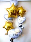 結婚祝「送料無料ゴールドスター&ハート ブライダル・バルーン」バルーン電報になります。