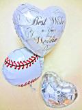結婚お祝「送料無料ベースボール ブライダル・バルーンミニ」素敵なバルーン電報になります。