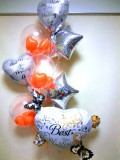 結婚お祝「オレンジ色のブライダルハートバルーン」バルーン電報になります。