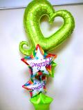 入学祝・入園祝・卒園祝・七五三祝・発表会「送料無料 お祝ライムハート&スターバルーン」バルーン電報になります。