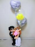 眼鏡男子結婚祝バルーンギフト・メガネ男子ブライダル「メガネの新郎と新婦 結婚祝バルーン&バルーンアート」