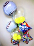 プロ野球・バルーンギフト・少年野球「DXお誕生日祝 ベースボールバルーン」バルーン電報になります。