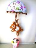 出産祝・スヌーピー・ウッドストック「ベイビーシャワー&ワンちゃん フラワーバルーン&バルーンアート」バルーン電報になります。