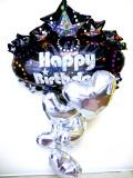 ラウンジ・バルーンギフト・バースデー「大人のキラキラのシルバーハート誕生日祝バルーン」