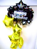 ラウンジ・バルーンギフト・バースデー「大人のキラキラのゴールドスター誕生日祝バルーン」