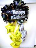 ラウンジ・バルーンギフト・バースデー「大人のキラキラのゴールドスター&シルバーハート 誕生日祝バルーン」