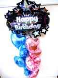 ラウンジ・バルーンギフト・バースデー「大人のブルー&ピンクハート誕生日祝バルーン」