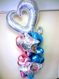 ラウンジ・バルーンギフト・バースデー「スペシャル大人のブルー&ピンクハート誕生日祝バルーン」