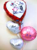 結婚祝「ピンクのミッキー&ミニー ブライダル・スマイルバルーン」バルーン電報になります。