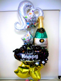 誕生祝・バルーンギフト・キャバクラ・ラウンジ「ゴールドスター&シルバーハート&シャンパン・バースデーバルーン」