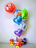 誕生日祝・バルーンギフト・バイキンマン・ジャムおじさん・ドキンちゃん「カラフル・アンパンマンバースデーバルーン&バルーンアート」