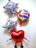 バルーンギフト「送料無料誕生日祝 キラキラハート&スターバルーン」バルーン電報になります。