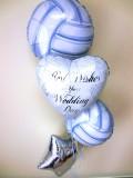 結婚祝・式場祝電・バルーンギフト・バレー部・ハイキュー「送料無料バレーボール結婚祝バルーン」バルーン電報になります。