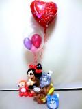 ジブリ・トトロ・ポニョ・誕生日祝・入学祝・結婚祝「ネコのバスと魔女のバルーン&バルーンアート」バルーン電報になります。