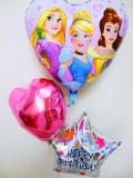 バースデーバルーン ラプンツェル アリエル 美女と野獣ベル 「プリンセス 誕生日お祝ハート・バルーン」
