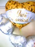 結婚祝・バルーンギフト「ウエディングゴールド ハートバルーン」バルーン電報になります。