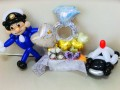 警察官結婚祝電報・警察結婚祝電・パトカー結婚祝・ポリス結婚祝・県警結婚祝「警察官&パトカー 結婚お祝リングバルーン」