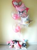 誕生日祝「マイメロ・キティ バルーン&バルーンアート」素敵なバルーン電報になります。