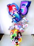 リトルマーメイド誕生日祝「送料無料 数字付アリエル&ラプンツェル&白雪姫 ミッキー・ミニー・誕生日祝プリンセスバルーン」