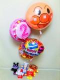 アンパンマン誕生祝・アンパンマンバルーンギフト「ピンクの2歳 アンパンマン&食パンマン 誕生祝バルーン&バルーンアート」