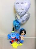 アラジン祝電・アラジン結婚式場・アラジンバルーンギフト「DXアラジンのジャスミン&ジーニー&魔法のランプ結婚祝バルーン」