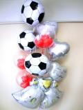 結婚祝「送料無料DXサッカー&ウエディングベル ブライダル・バルーン」バルーン電報になります。