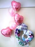 結婚祝・結婚式場祝電「ピンクのフラワー&ビックハート ブライダル・バルーン」バルーン電報になります。