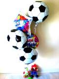誕生日祝/送料無料「サッカー&バルーンアート バースデー」バルーンギフトにメッセージカードを添えれば素敵なバルーン電報になります。