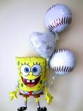 祝電・バルーンギフト「結婚お祝スポンジボブ ベースボールバルーン」バルーン電報になります。