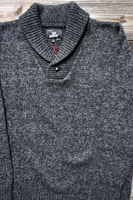 BAD QUENTIN SHAWL COLLAR KNIT BLACK