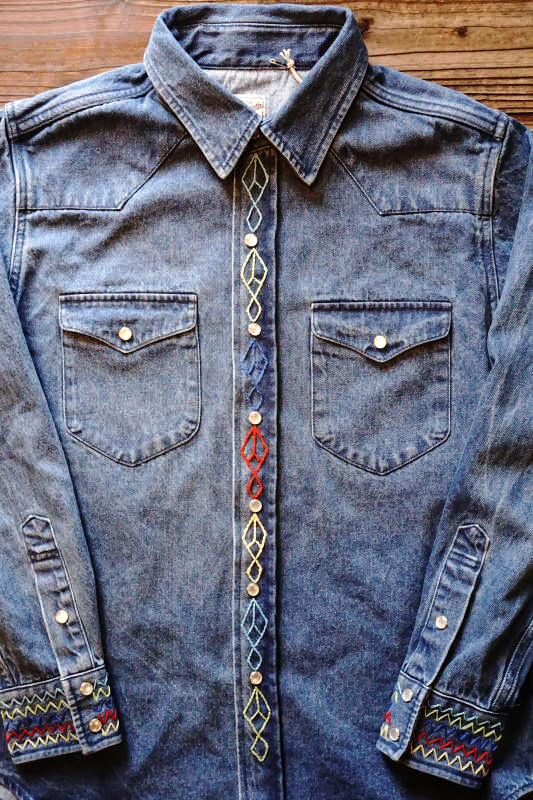 BAD QUENTIN HAND EMBROIDERY DENIM SHIRT