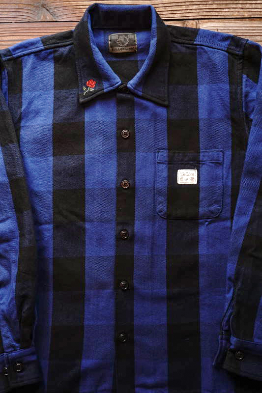 B.S.M.G. CHECK - L/S SHIRTS BLUE